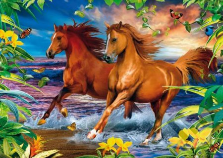 Horses in the surf 3D (1000)