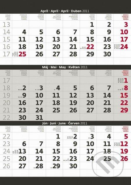 Trojmesačný kalendár šedý 2011